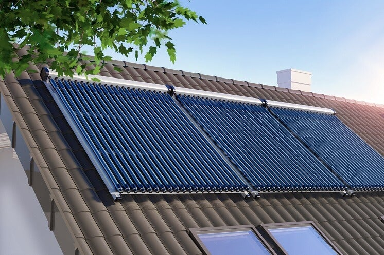 Solar thermal panels on a rood