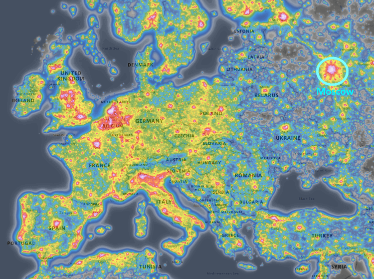 map of light pollution across Europe
