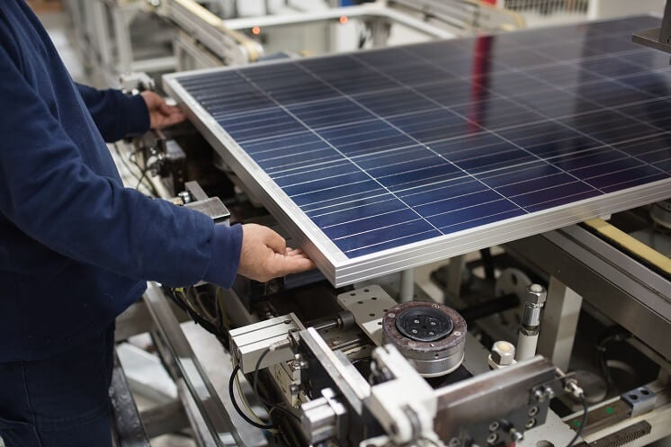 solar panel being made in factory
