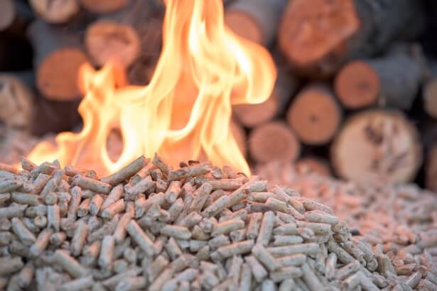 a biomass boiler burns wood pellets