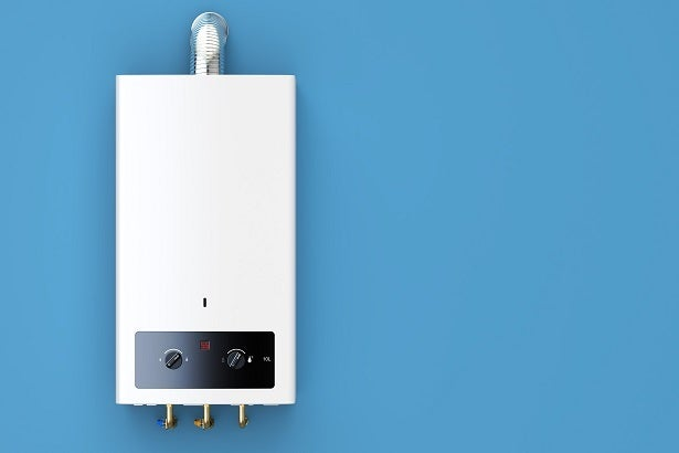 combi boiler with blue background