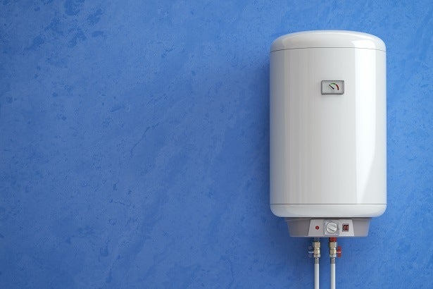 a combi boiler on a blue wall