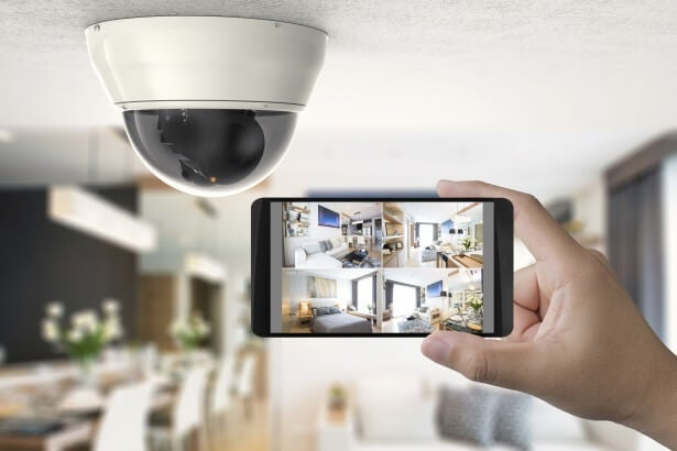 a home security camera keeps watch