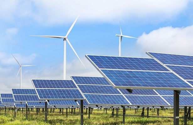 solar panels and wind turbines together