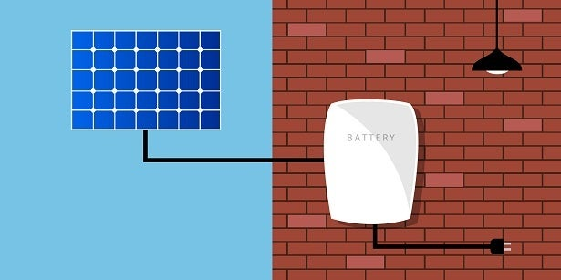 cartoon solar battery with solar panel