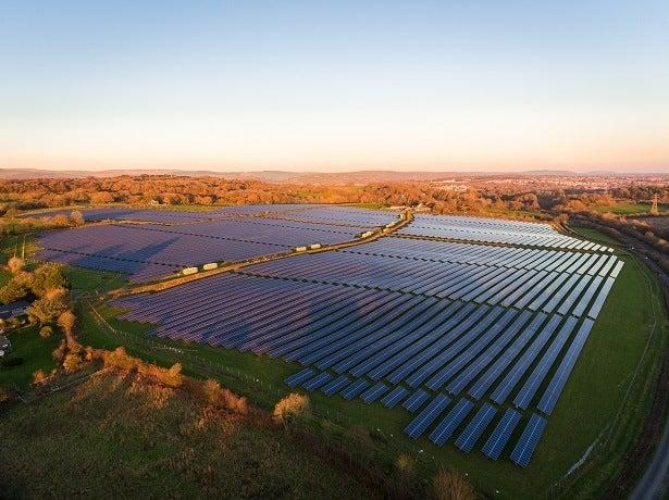 solar panels in a big field