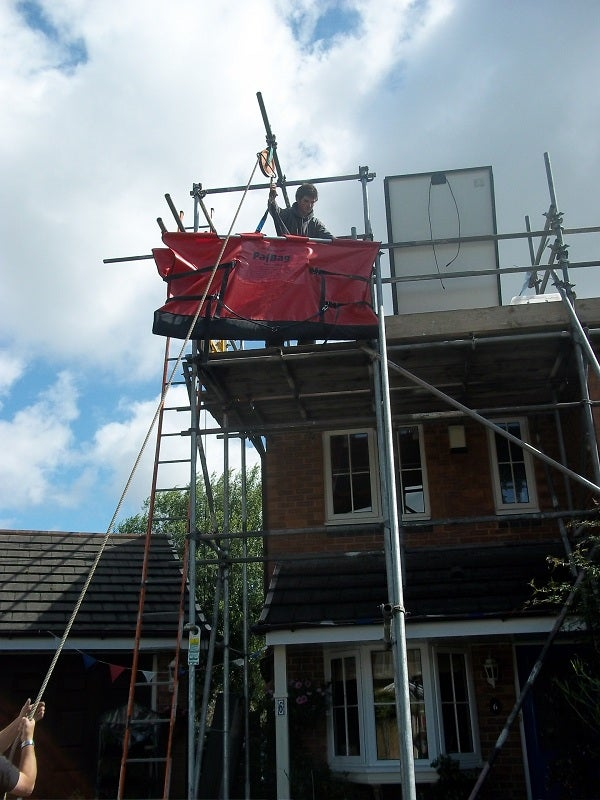 The scaffolding needed to install the solar panels