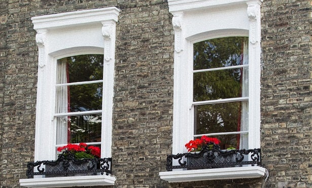 two wooden windows with double glazing