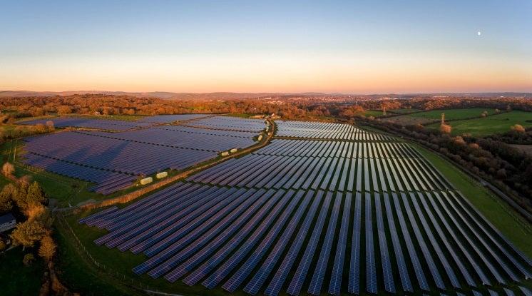 solar panels in a field in wales