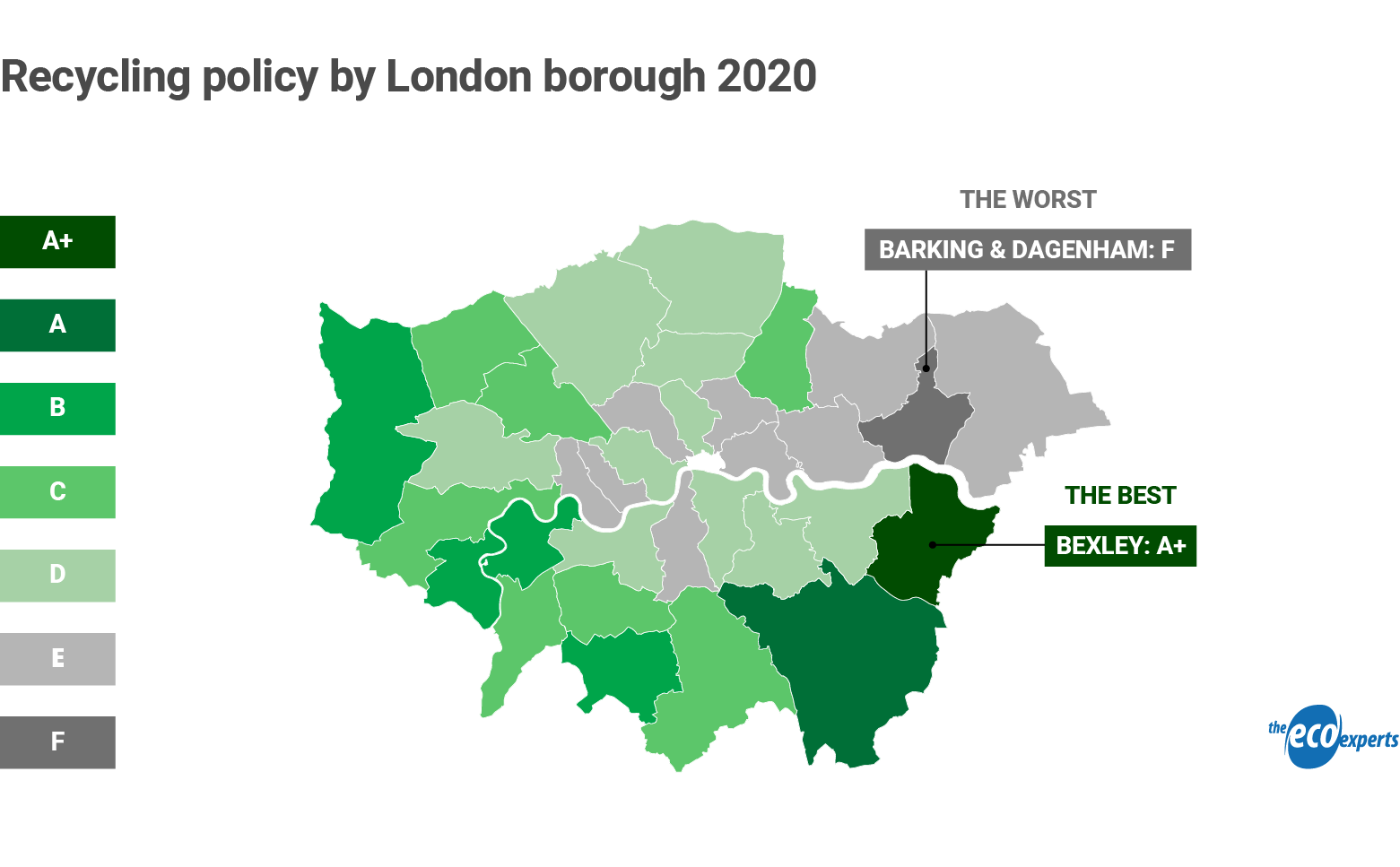 map of London showing recycling policy by borough