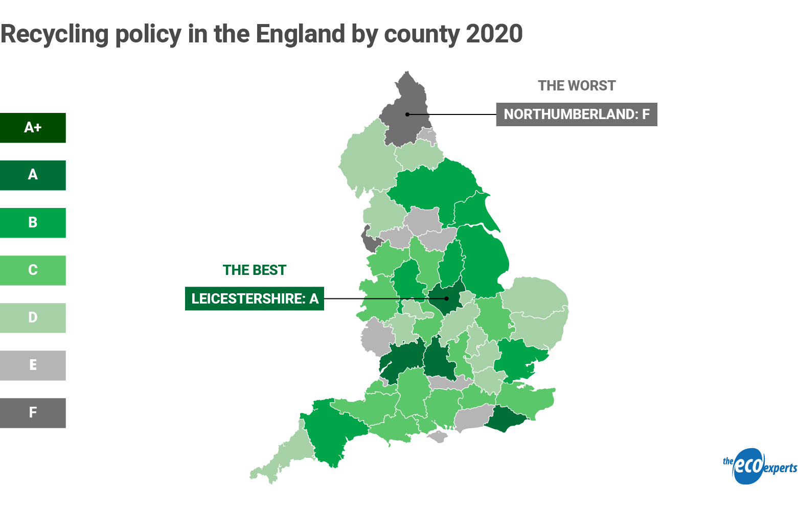 map of England showing each county's recycling policy