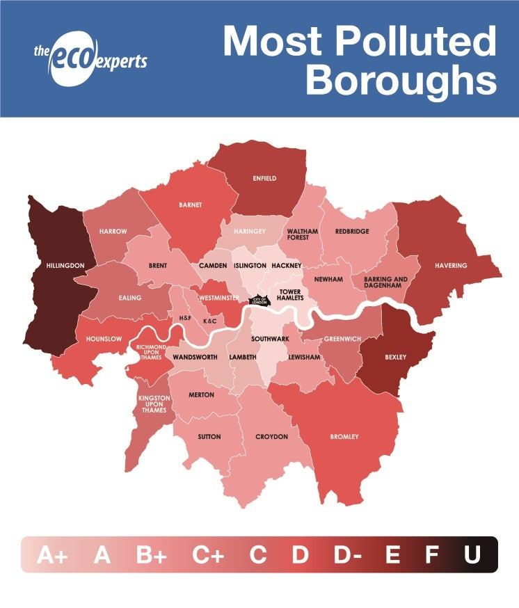 a map of the most polluted london boroughs