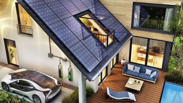 nice house with solar batteries and solar panels