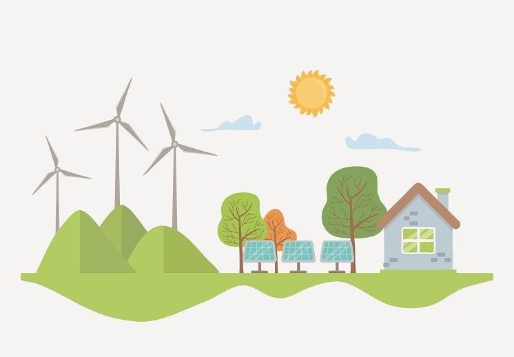 cartoon solar panels near house