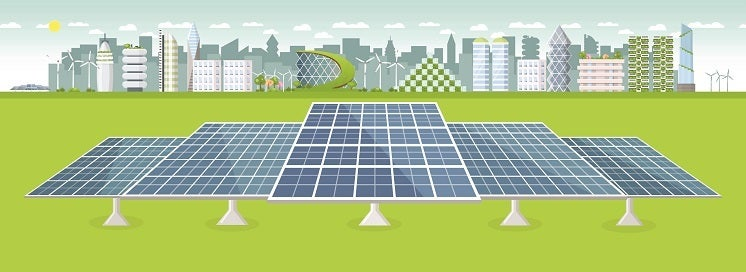 cartoon solar panels in front of a futuristic city