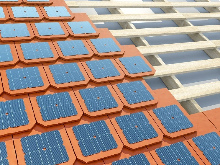 solar tiles on a red roof
