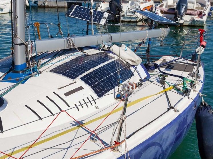 flexible solar panels on a boat