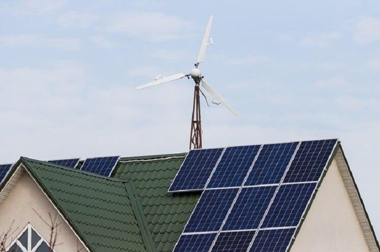 Domestic wind turbine on home