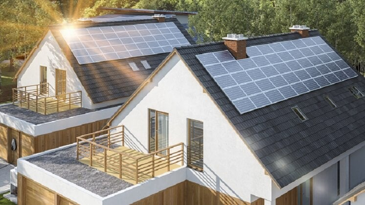 Home with solar panels on it