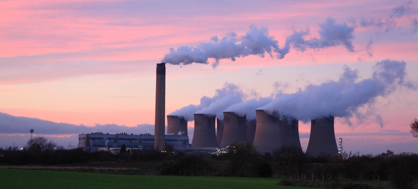 steam leaves drax power station in the uk