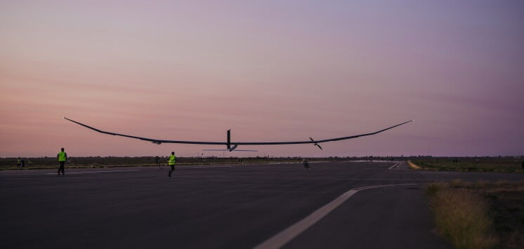 the PHASA-35, a solar plane, takes off