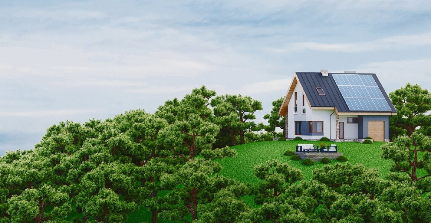 Off-grid home on a hill