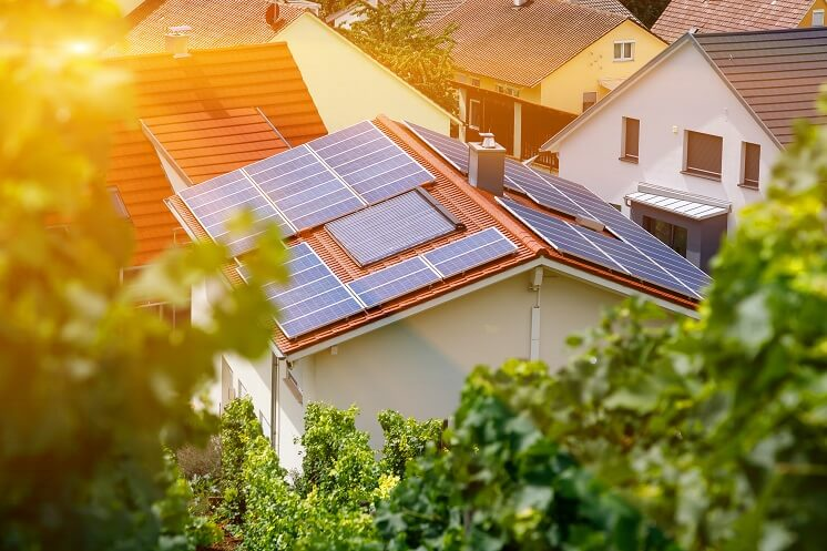 Home in the sun with solar panels