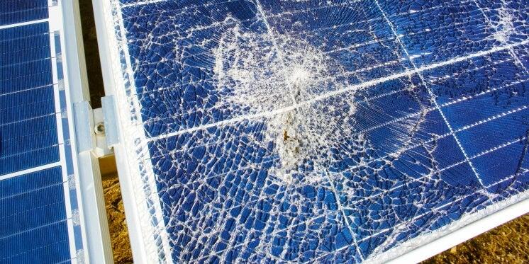 a broken solar panel