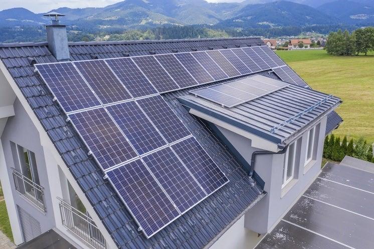 monocrystalline solar panels on a roof
