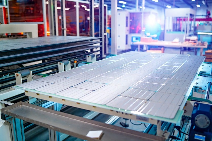 solar panel being produced in a factory
