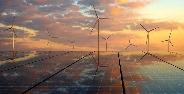 Renewable energy at sunset