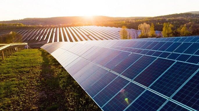 solar panels at sunset