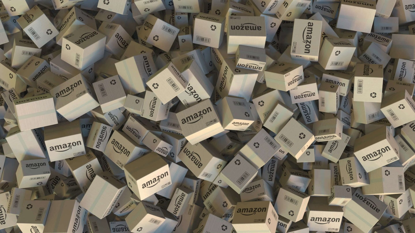 pile of amazon delivery boxes