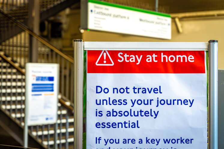 stay at home sign in transport hub