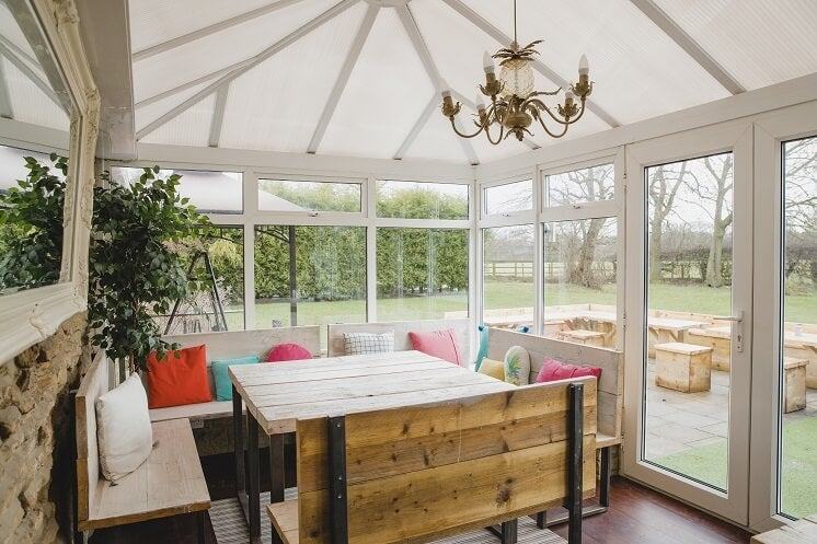 The inside of a conservatory with insulating panels