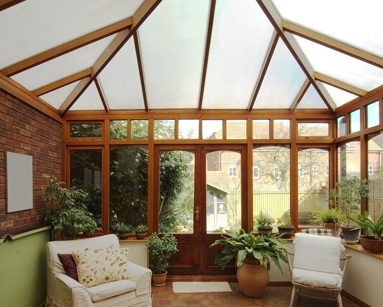 Inside a conservatory with insulation