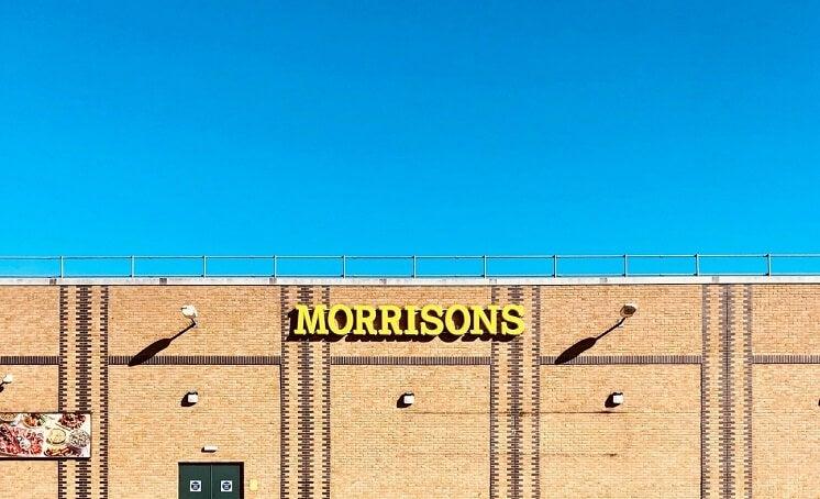 morrisons shop against blue sky