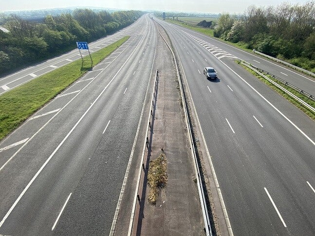 empty road in the uk during lockdown