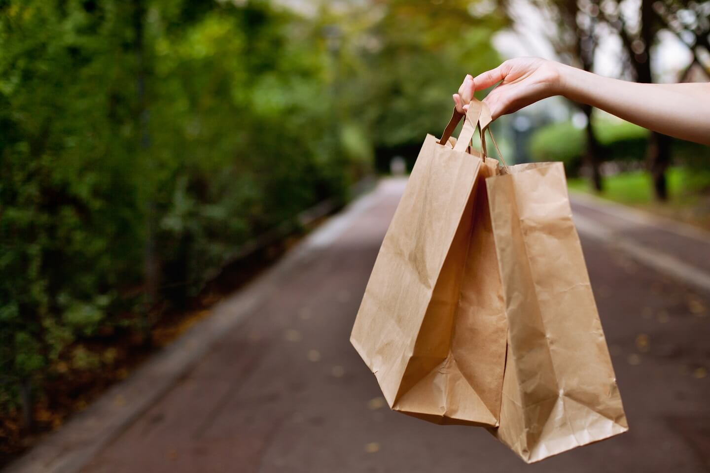 two brown paper bags in hand