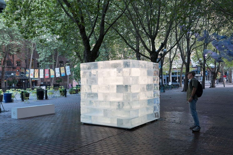 a ten-tonne block of ice in a Seattle square