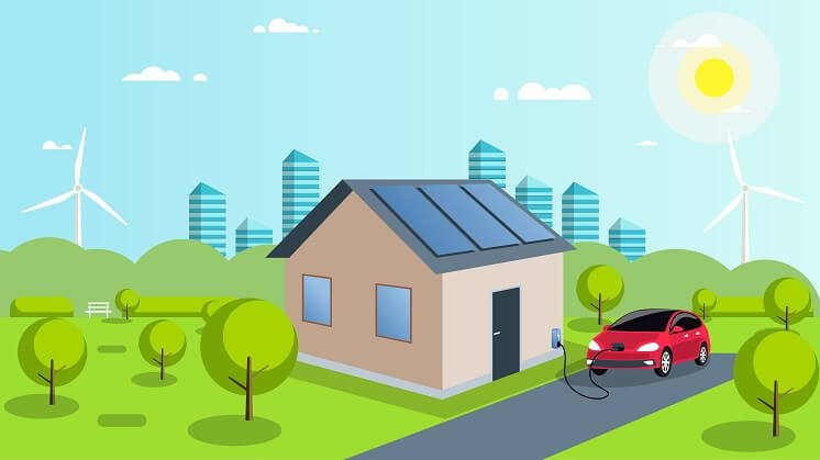 house with solar panels and EV charging