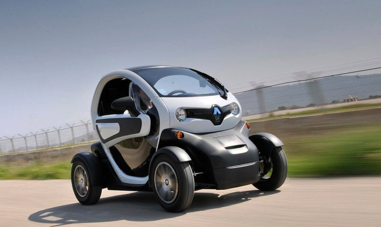 the Renault Twizy on the road