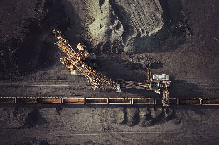 Coal mining aerial view