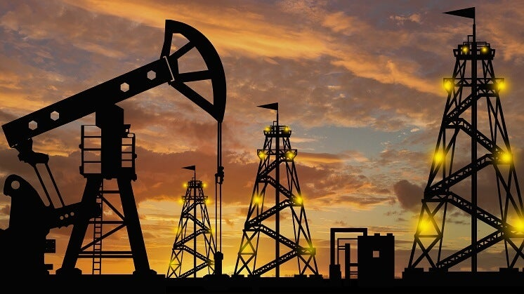 oil production with sunset