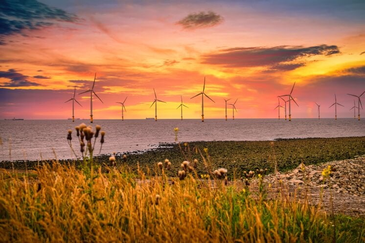 offshore wind turbines seen from the English coast