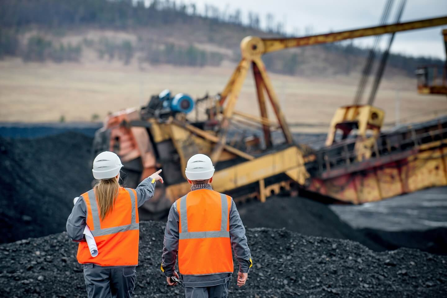 two people at uk coal mine
