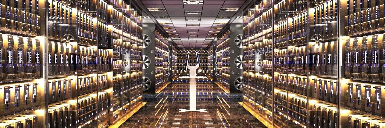 a bitcoin server room