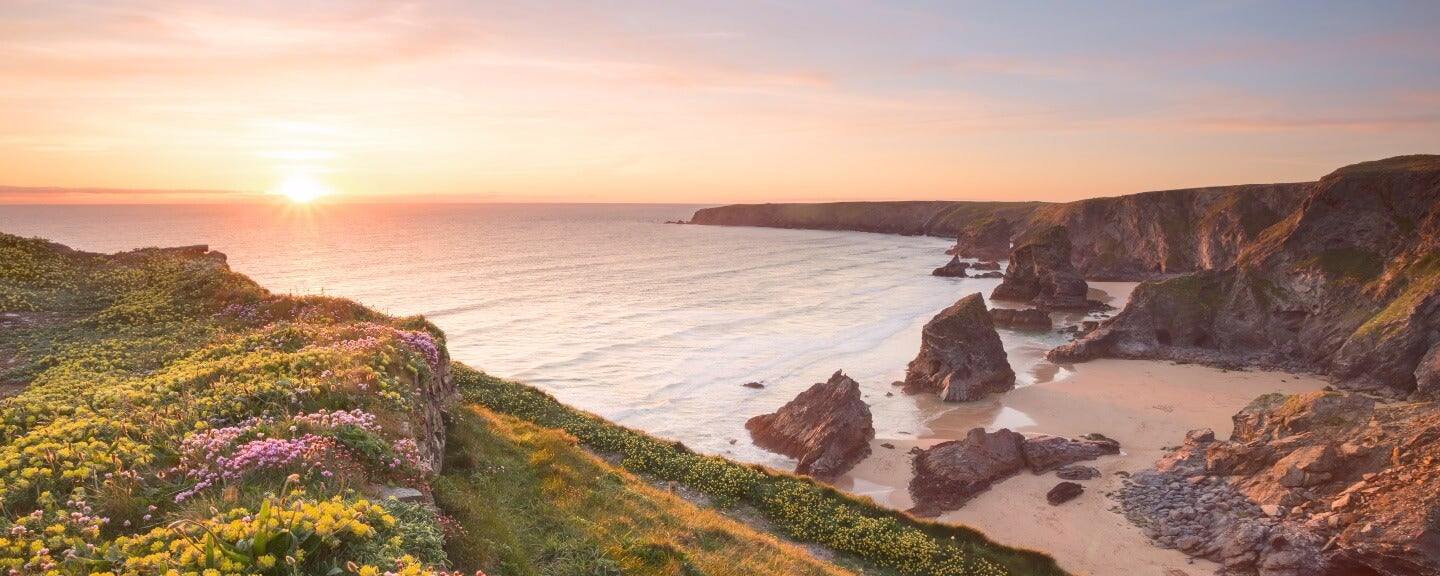The Bedruthan Steps in cornwall, in the UK