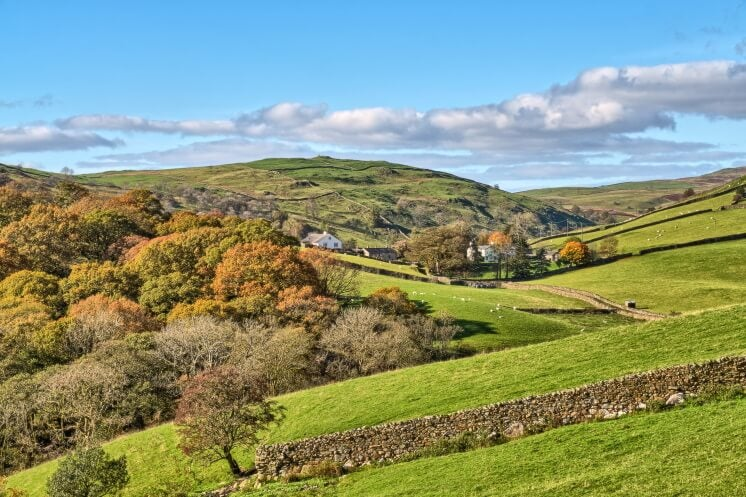 an English landscape in autumn