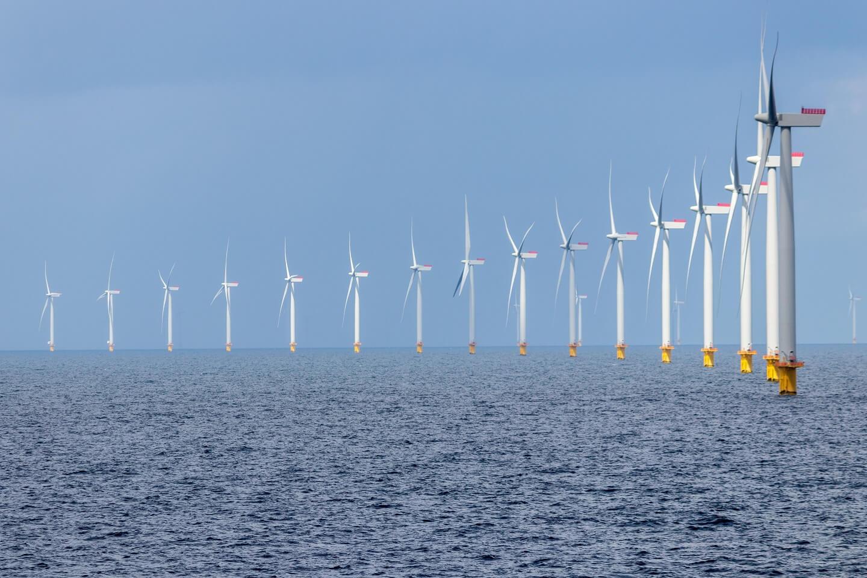 a row of wind turbines in sea